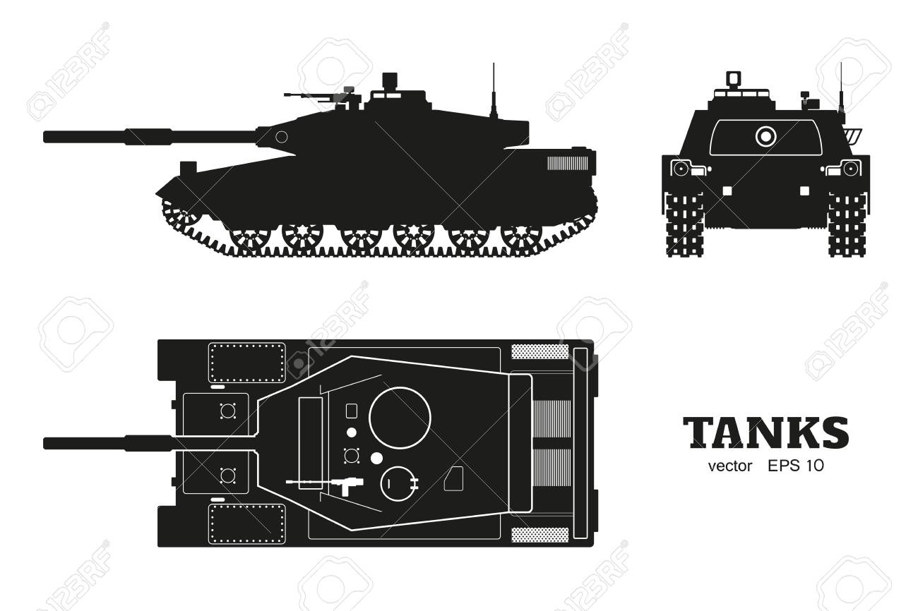 Silhouette of realistic tank blueprint armored car on white silhouette of realistic tank blueprint armored car on white background top side malvernweather Image collections