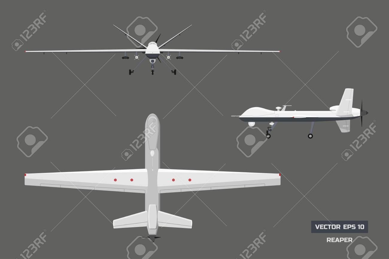3d image of military drone. Top, front and side view. Army aircraft for intelligence and attack. Industrial isolated drawing - 95570843