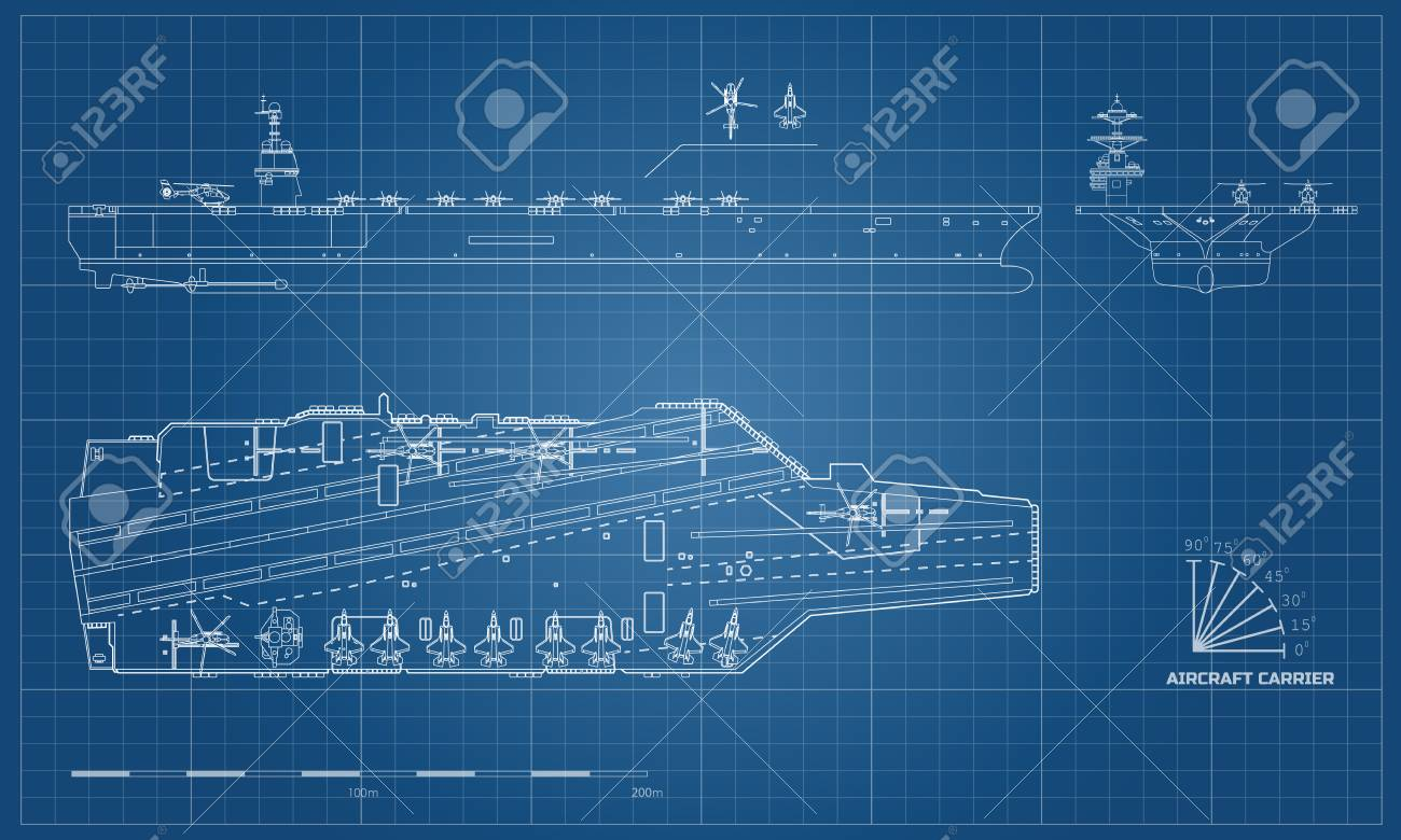 Blueprint of aircraft carrier. Military ship. Top, front and.. on