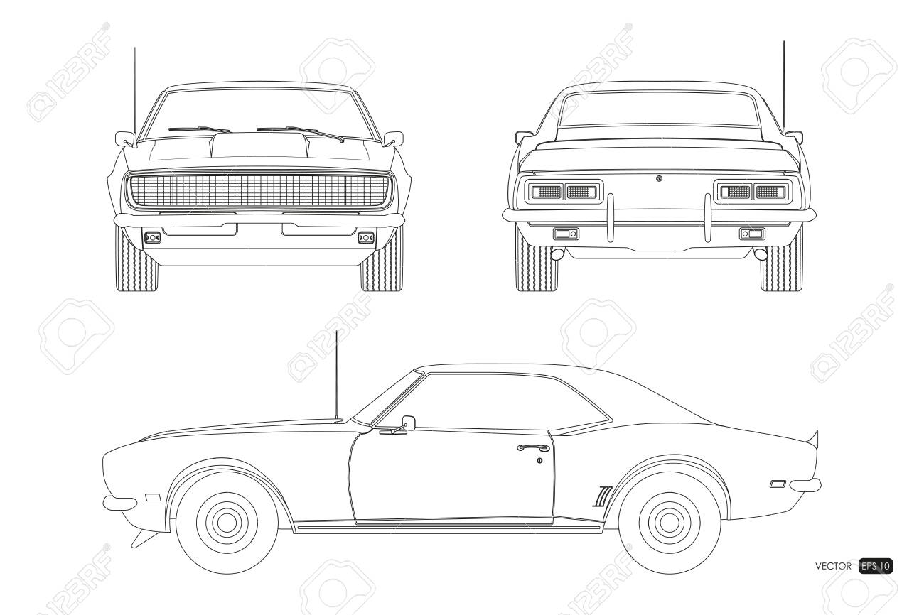 Blueprint of retro car  American vintage automobile of 1960s
