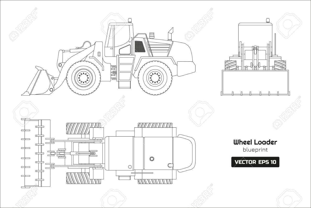 Outline drawing of wheel loader on white background  Top, side