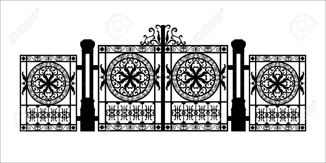 Black silhouette of gothic cemetery gate with ornament. Isolated drawing of cathedral build. Fantasy architecture. European medieval landmark. Design element. - 118979016