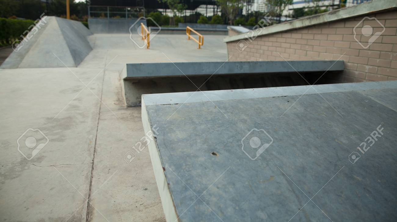Skate Board Ramp >> Outdoor Concrete Skateboard Ramp At The Park Stock Photo Picture