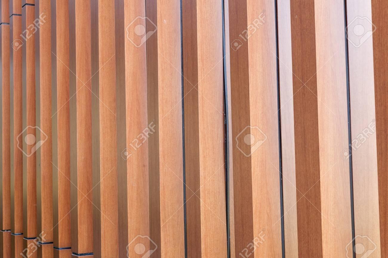 Stock photo wood battens slat of the modern building