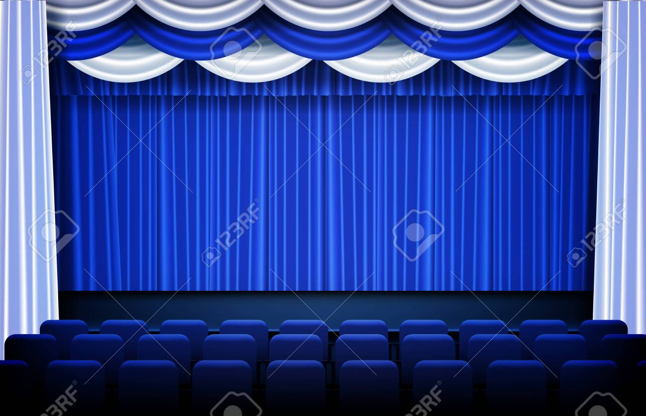 Abstract Background Of Blue Theater Drapes And Stage Curtains