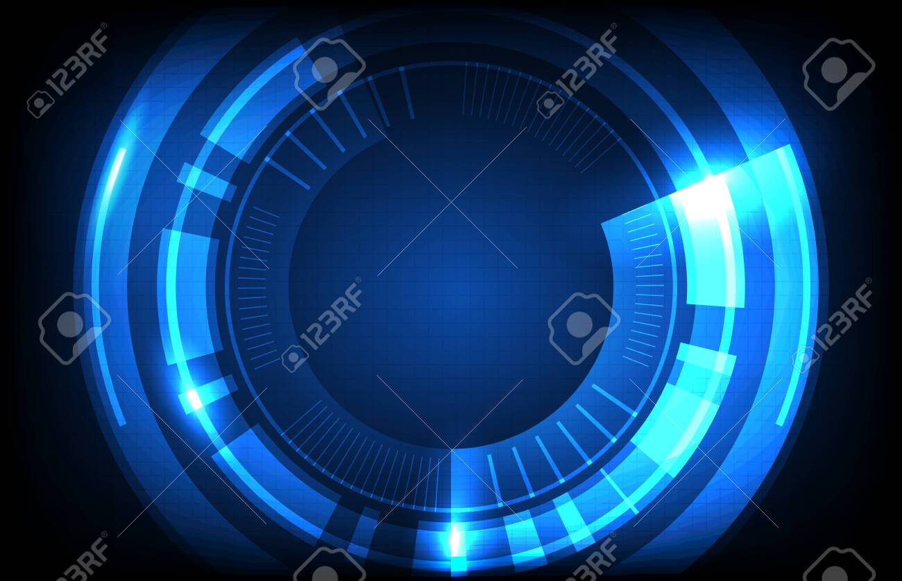 abstract background of round futuristic technology user interface screen hud - 143204271