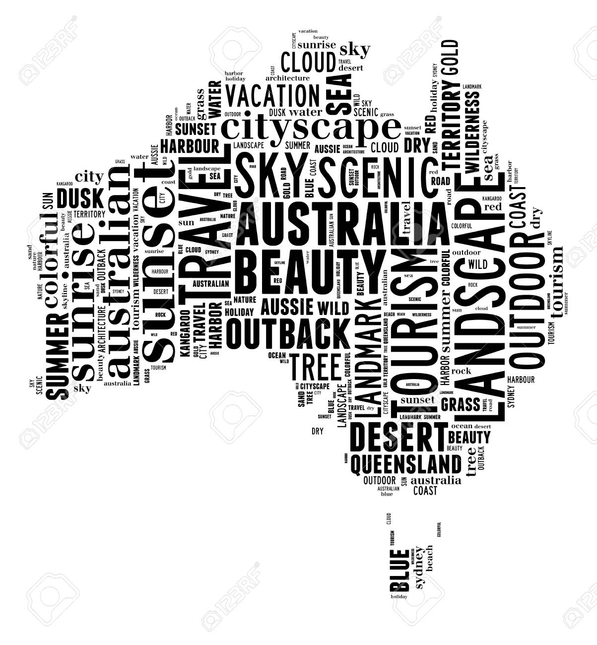 Australia Word Map.Australia Map Info Text And Graphic Arrangement Concept On White