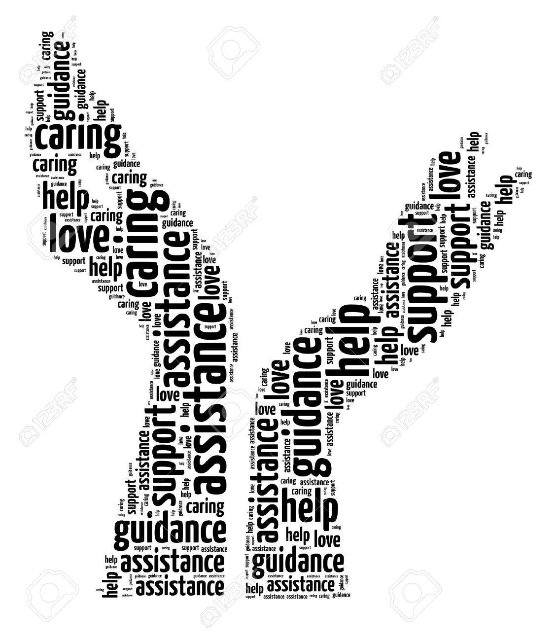 supporting hands info text graphic and arrangement concept on