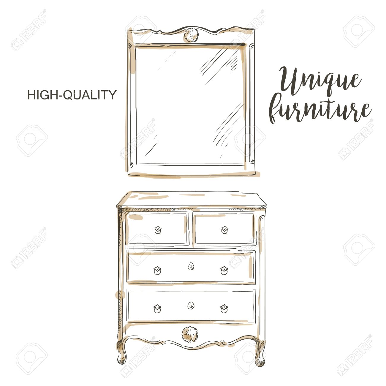 Vector   Wooden Painted Dresser With Mirror Sketch Hand Drown Furniture