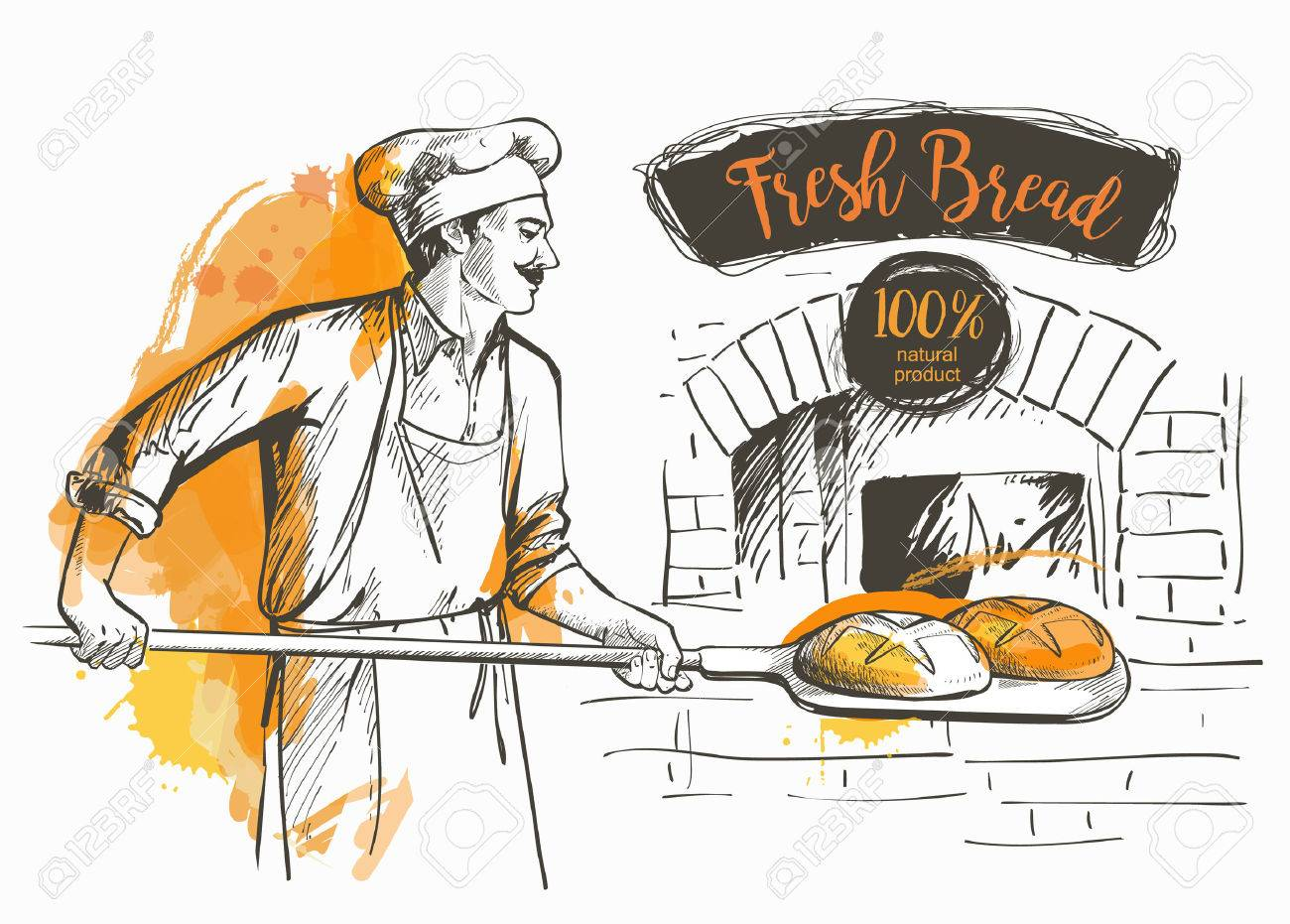 baker in uniform taking out with shovel baked bread from the oven - 62240418