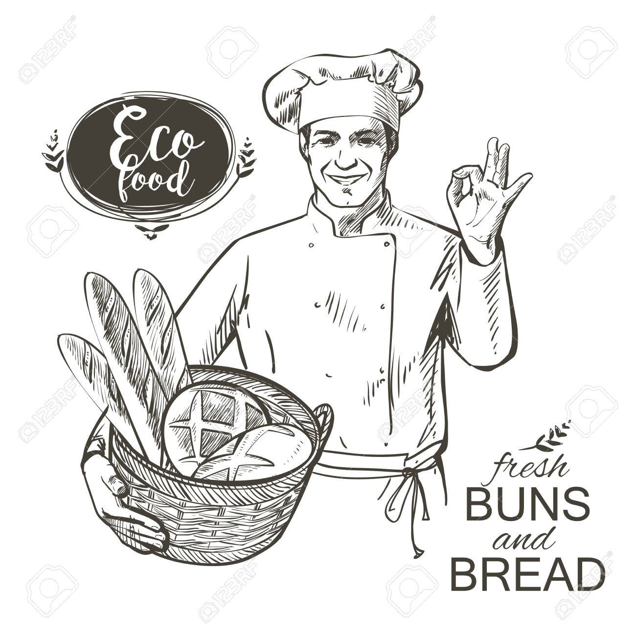 baker in uniform carrying a basket with baked bread illustration - 62240423