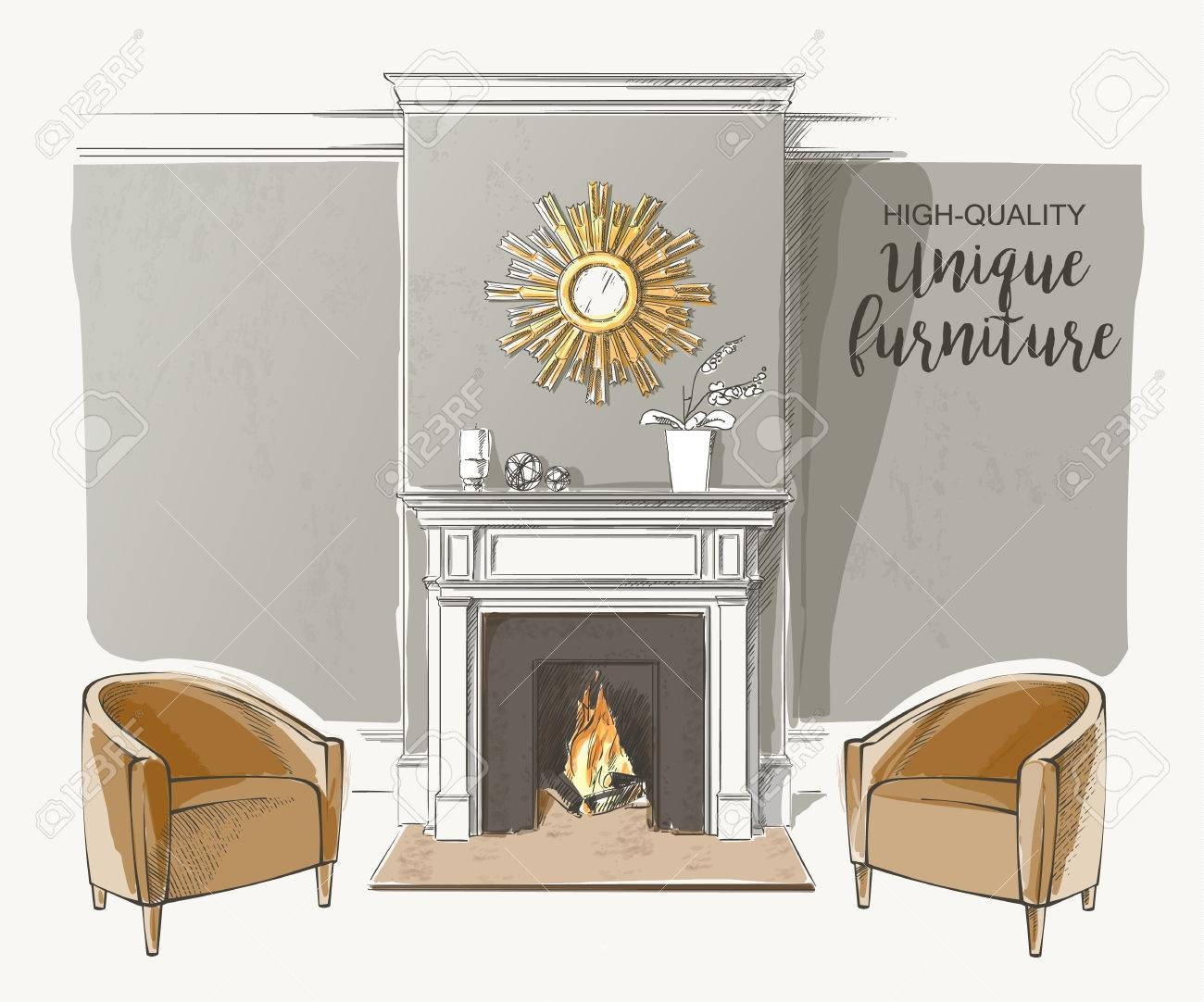 Classic Interior Of Living Room With Fireplace Armchairs Elegant ...