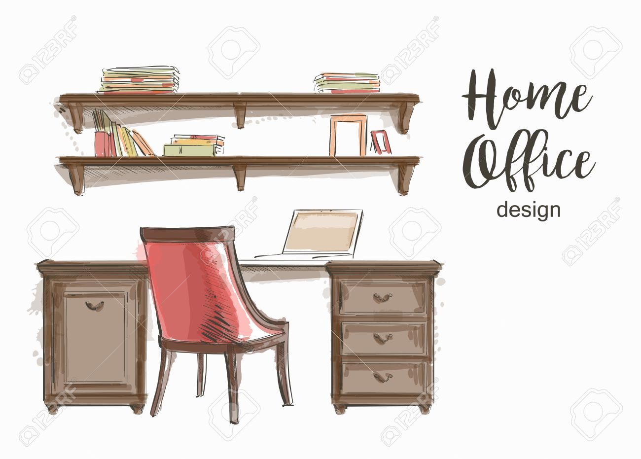 Interior wooden shelves free vector - Set Of Hand Drawn Classic Home Office Interior Work Table Wooden Shelf Chair Vector Sketch Stock