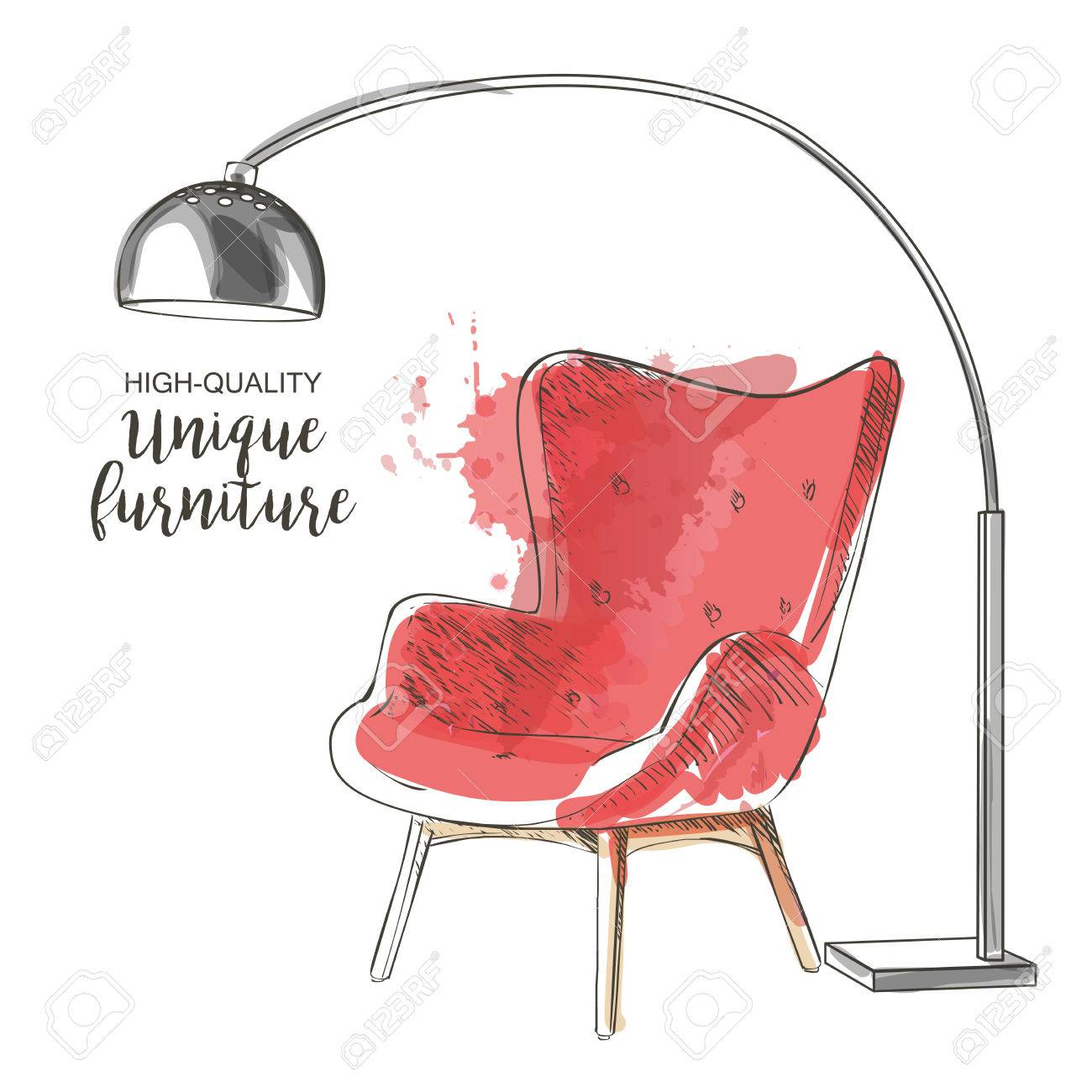 red chair sketch - 75207433