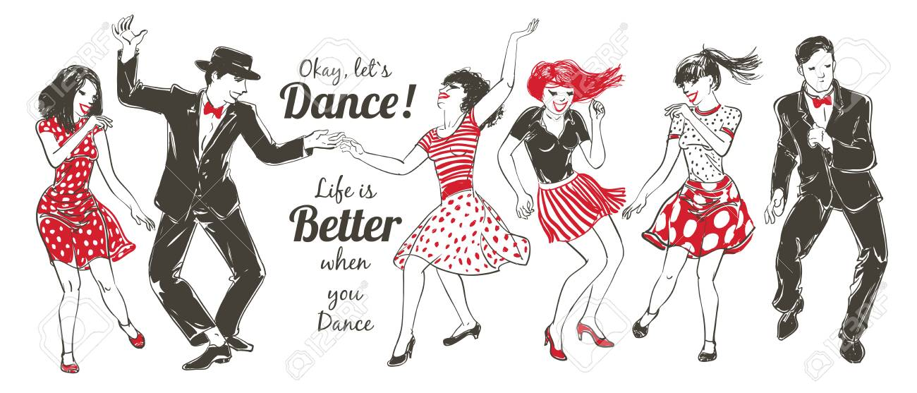 Dancing people Set - 104854246