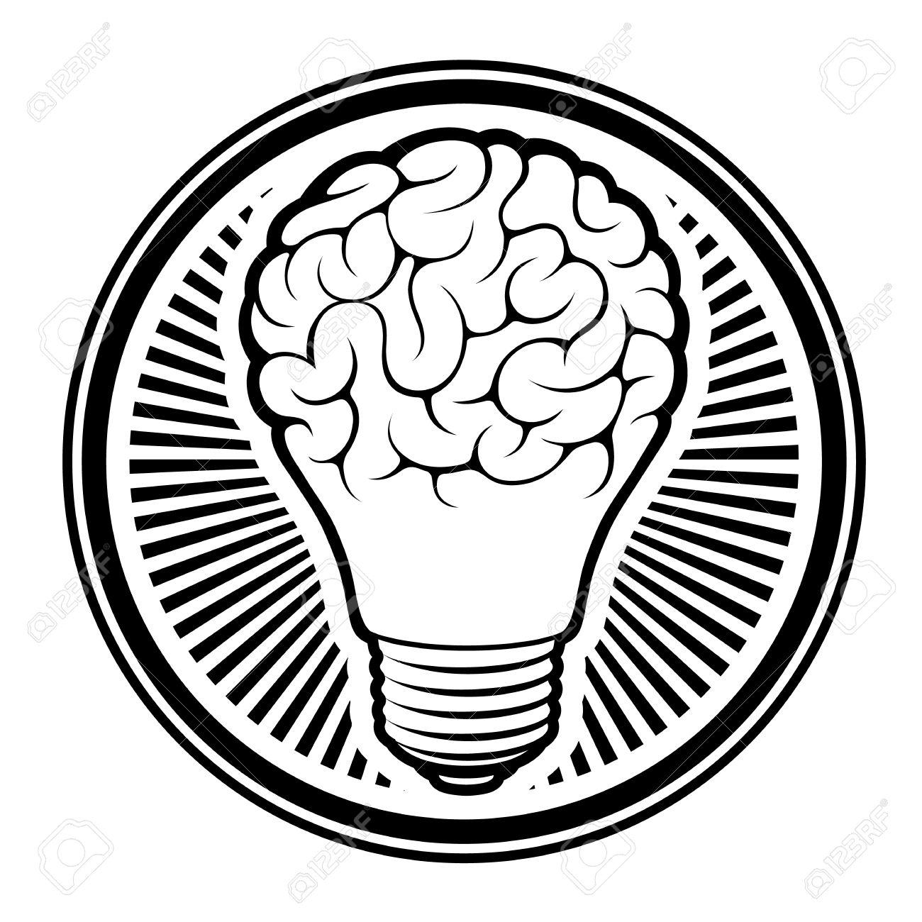 Light Bulb Idea   Human Brain   Isolated On White Background Vector  Illustration Stock Vector