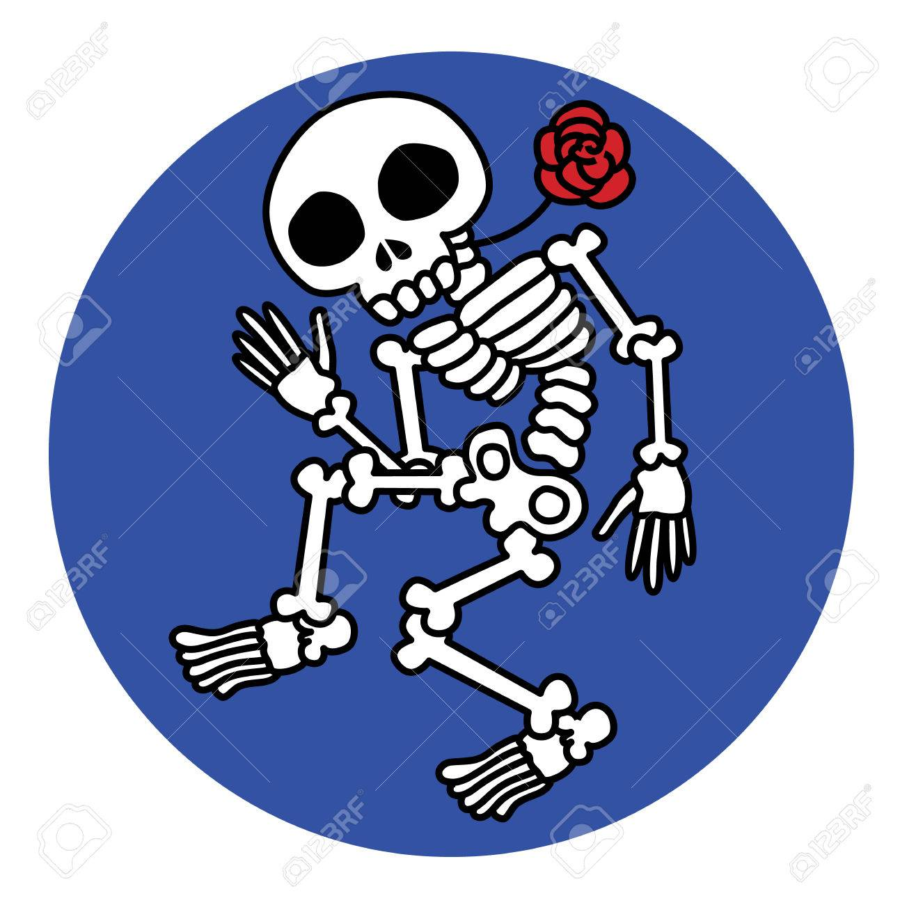 dancing skeletons vector illustration - Funny Halloween design - 35354537