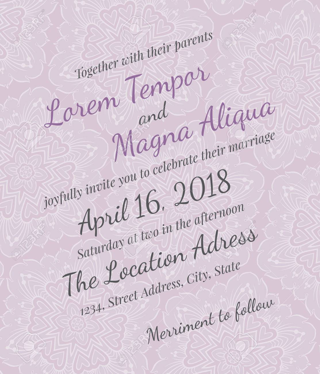 Invitation Wedding Vector Lace Template - For Invitations, Flyers ...