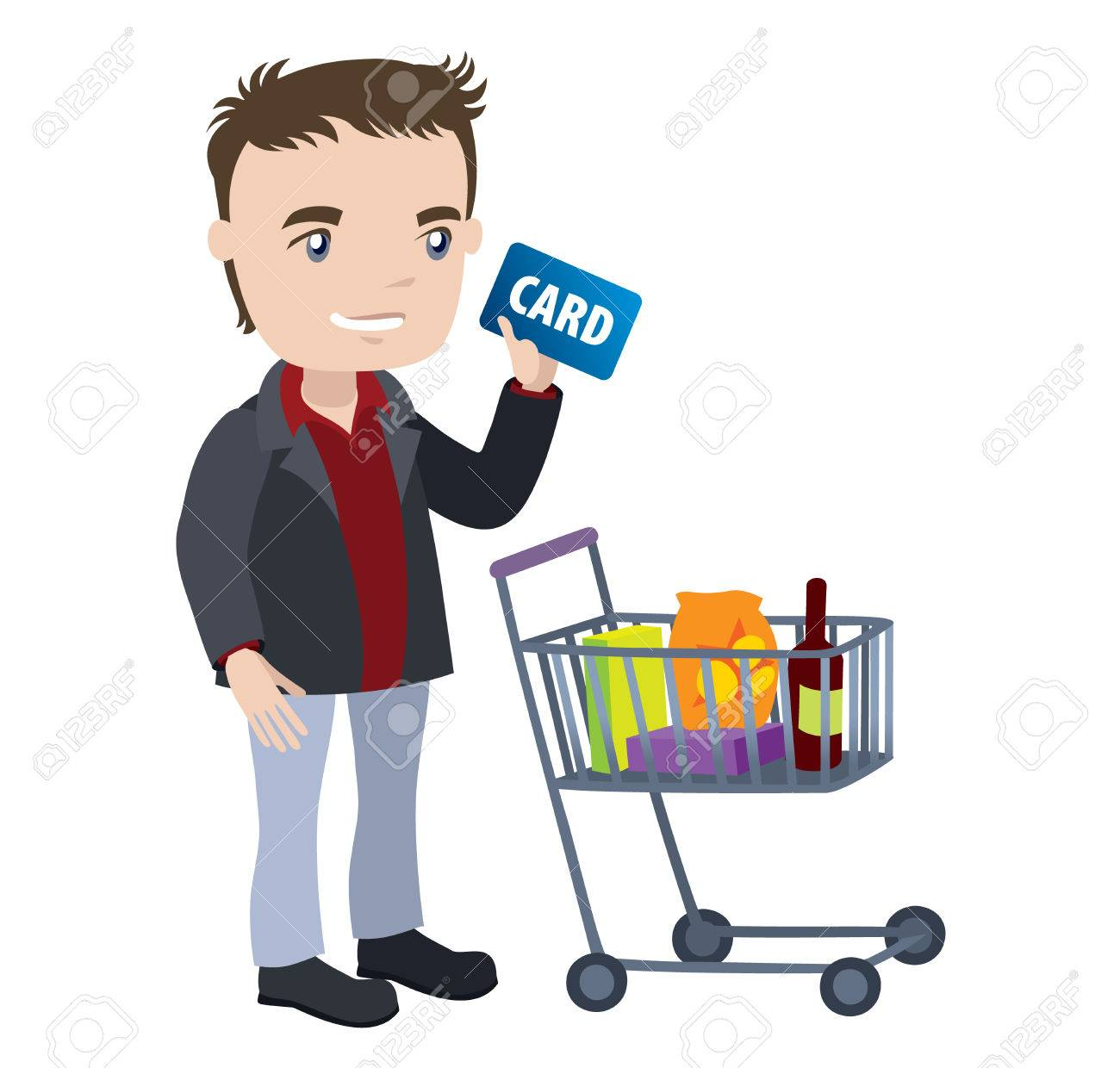 man with a shopping cart and credit card businessman cartoon