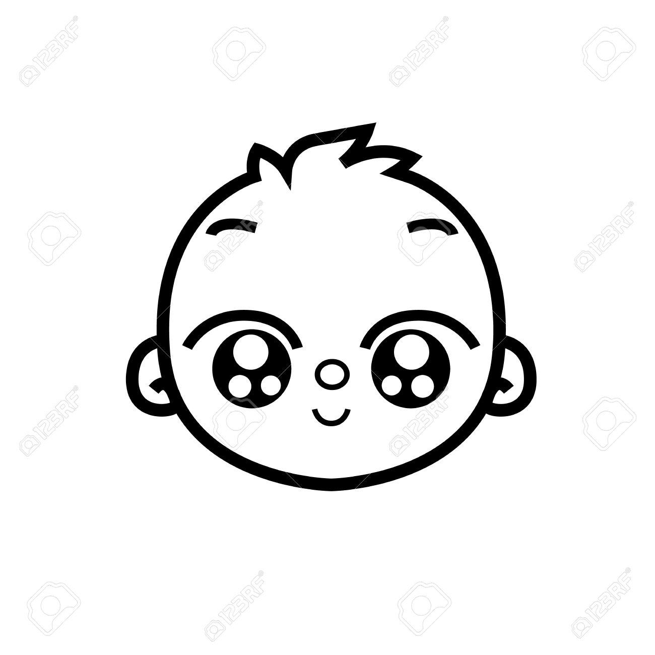 Faccia Neonata Neonato Ragazzo Carino Faccia Sorriso Figura Stilizzata Vettore è Utile Per Segni Puntatori Come Segnaletica