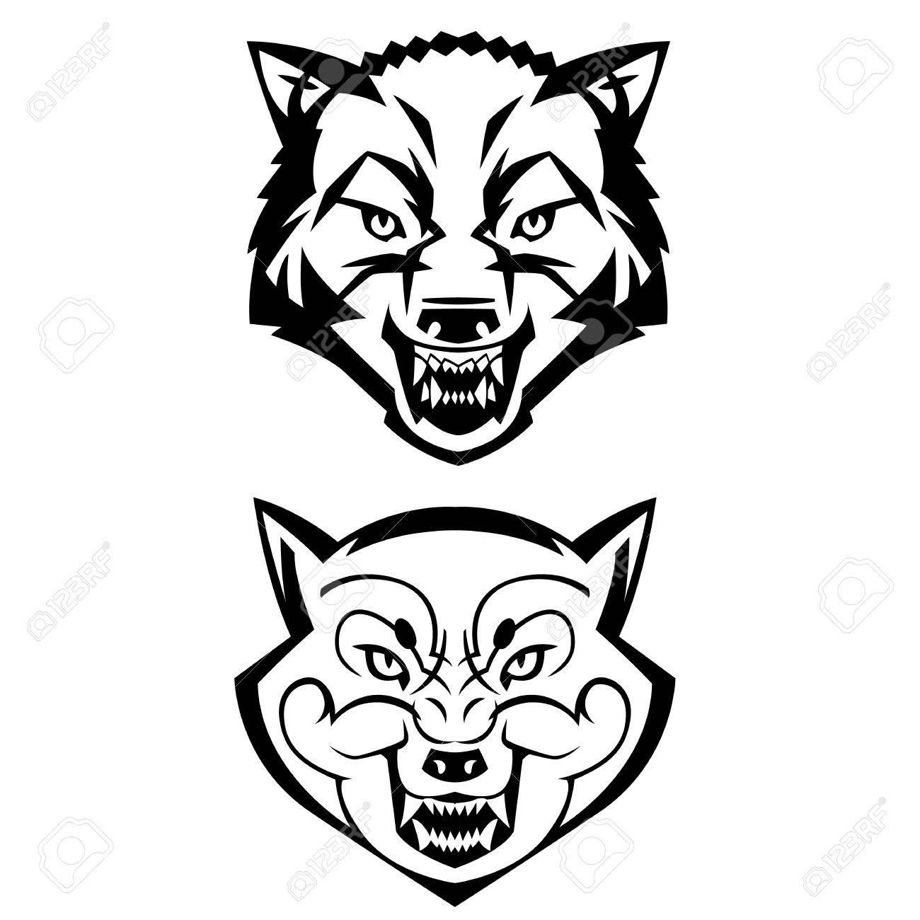 wolfs heads showing teeth harsh beast hunter forest vector can vector wolfs heads showing teeth harsh beast hunter forest vector can be used as a tattoo or logo