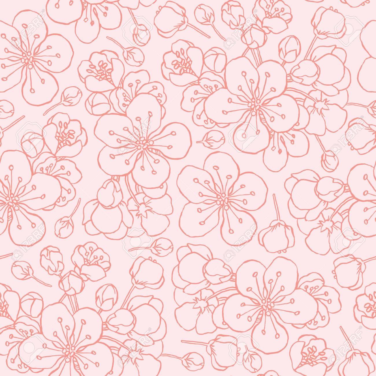 hand drawing flowering cherry, plum or sakura - seamless vector pattern - 43440052