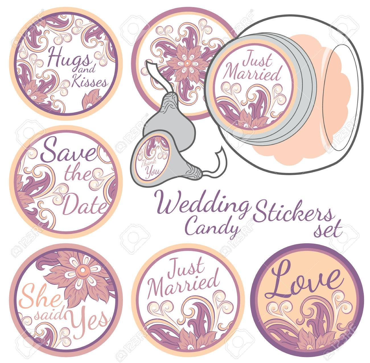Personalized Candy Sticker Labels With Decorative Floers Set ...