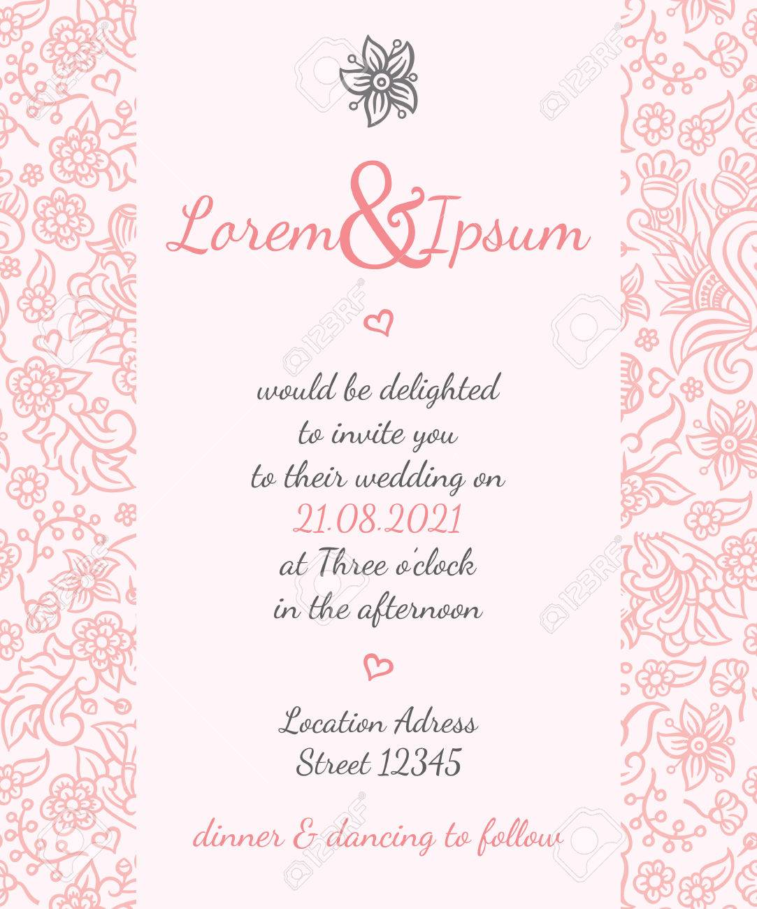 Invitation wedding card vector template - for invitations, flyers, postcards, cards and so on - 43440066