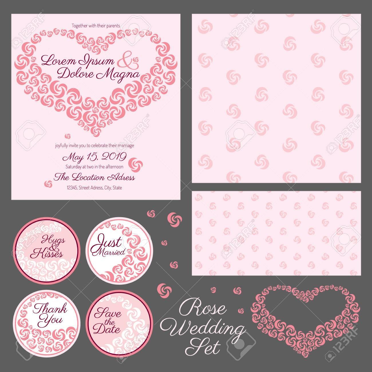 Einladung Hochzeit Set   Karte Vektor Vorlage   Für Einladungen, Flyer,  Postkarten,