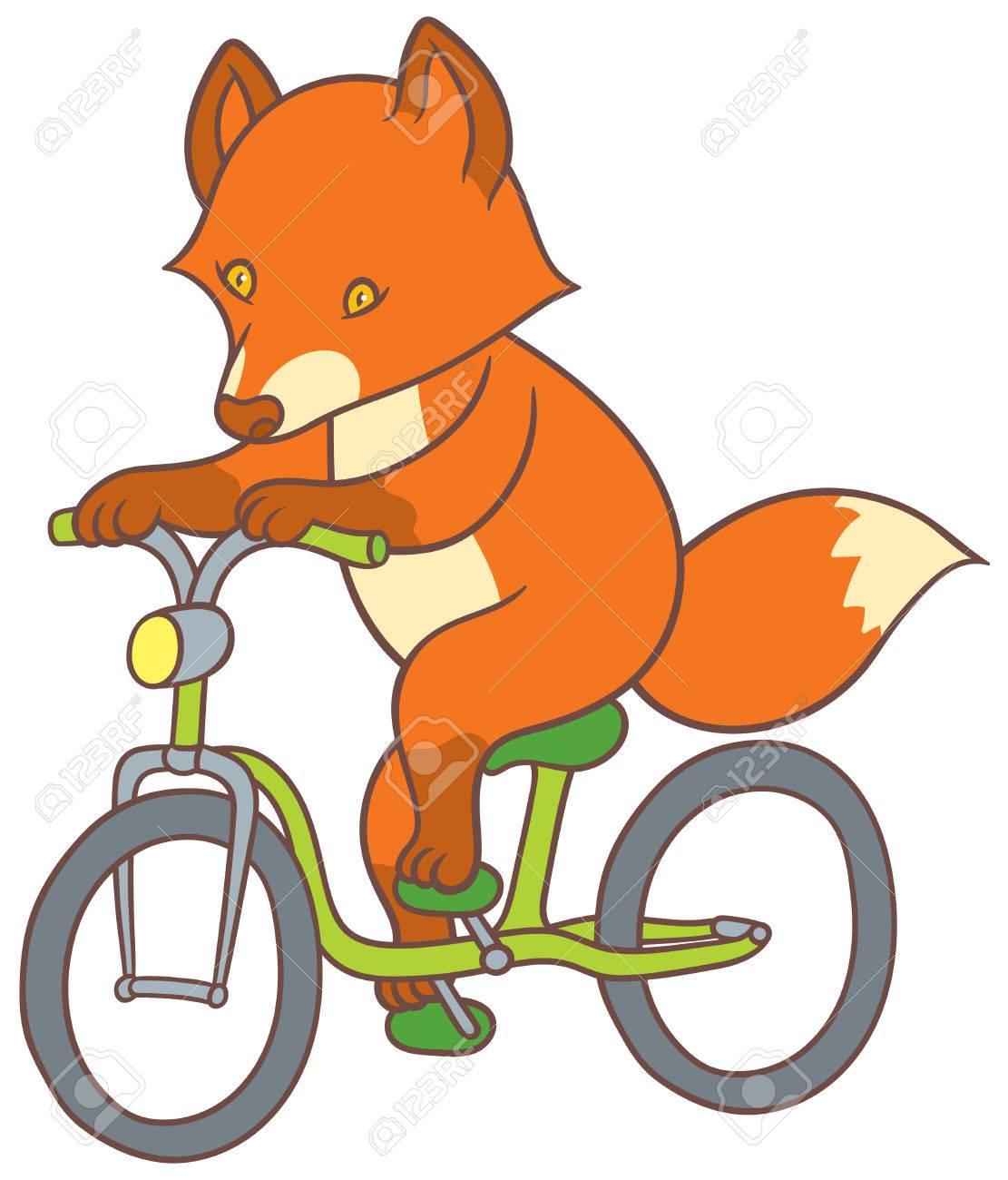 自転車 ベクトル手図面イラストかわいい漫画フォックスのイラスト素材