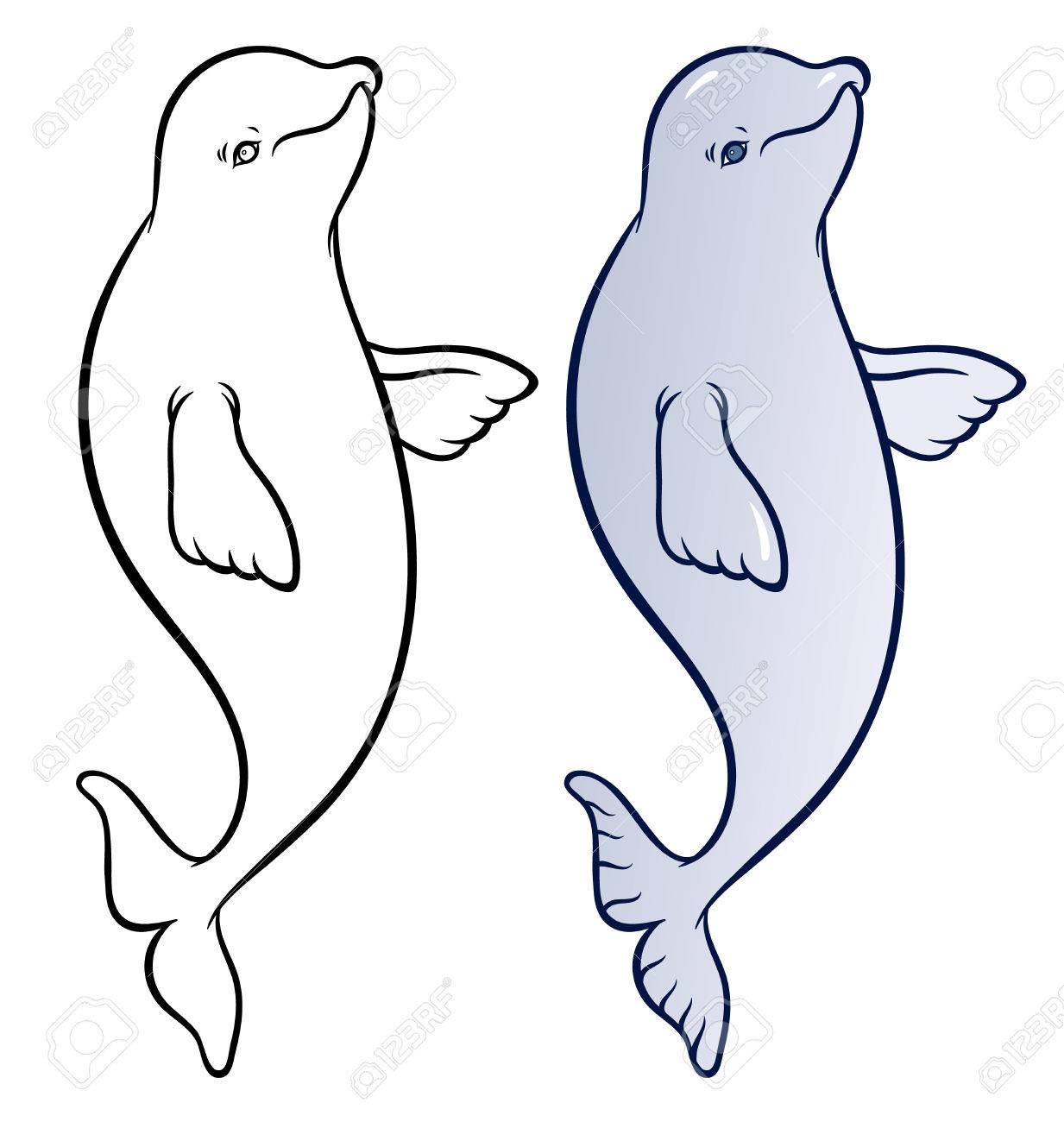 happy smiling beluga whale cartoon vector hand drawing illustration stock vector 51166280