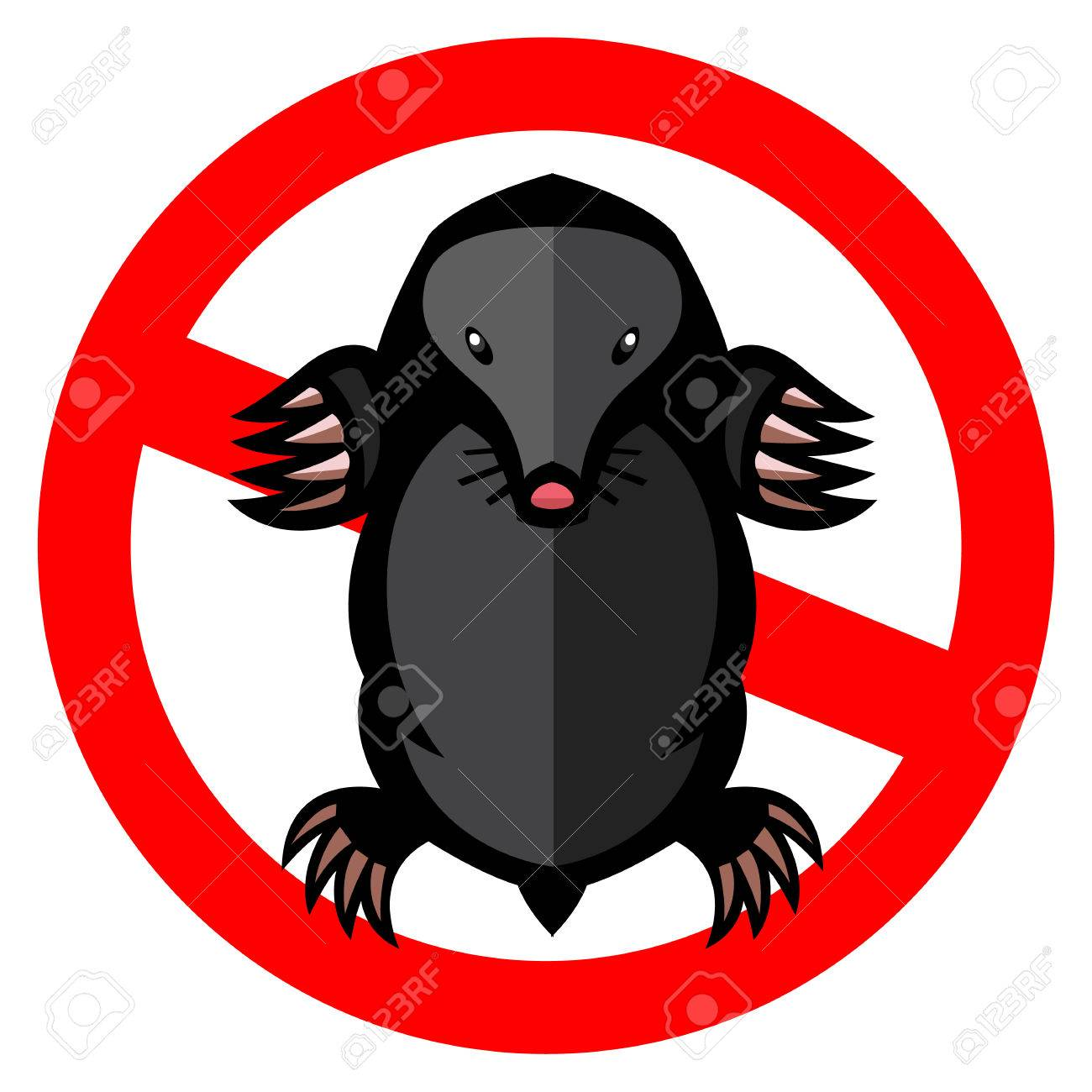 mole pest animal vector illustration - set of household pests in pure style - 51170253