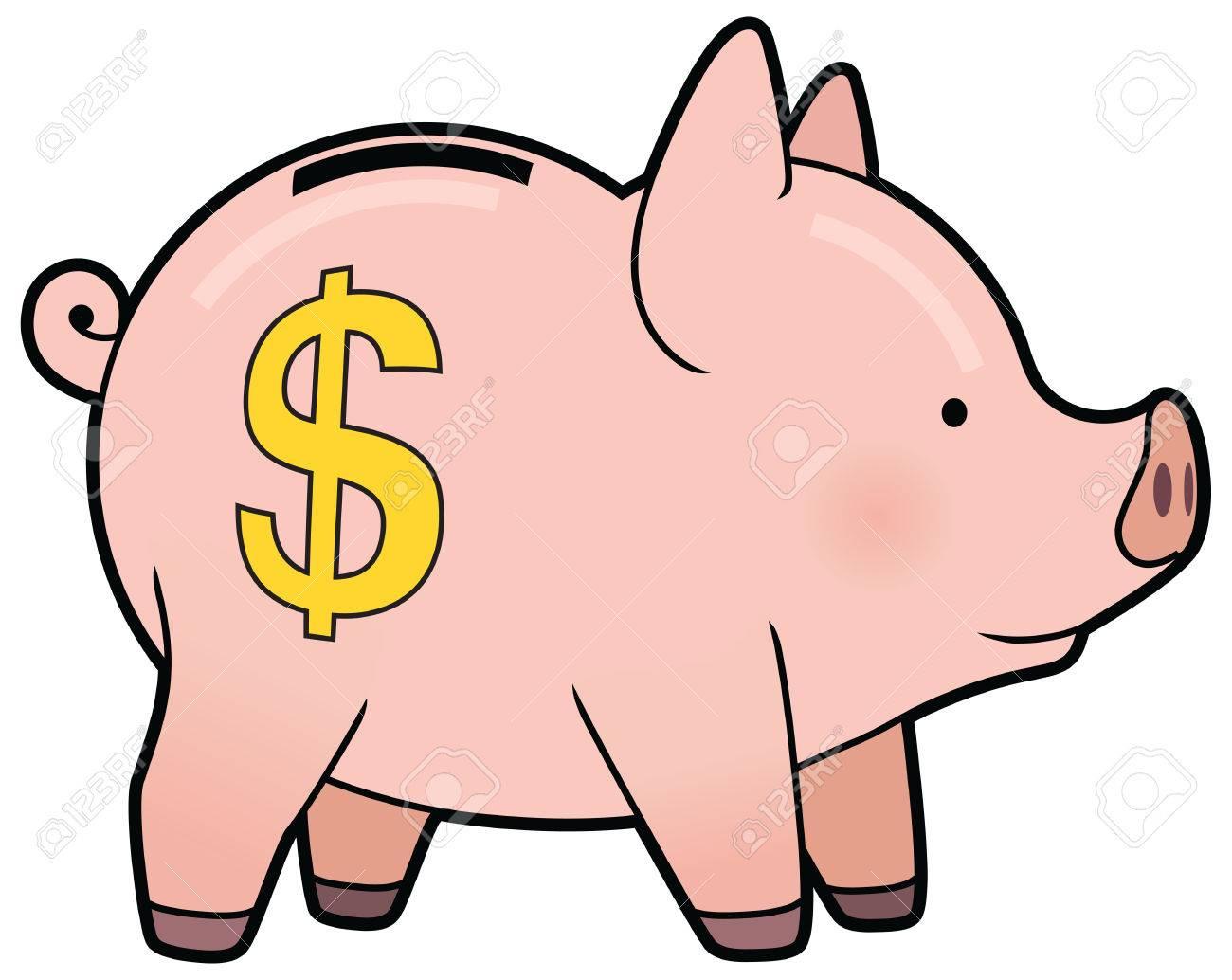 cartoon cute pink piggy bank vector royalty free cliparts vectors rh 123rf com Piggy Bank Graphic free piggy bank pictures clip art