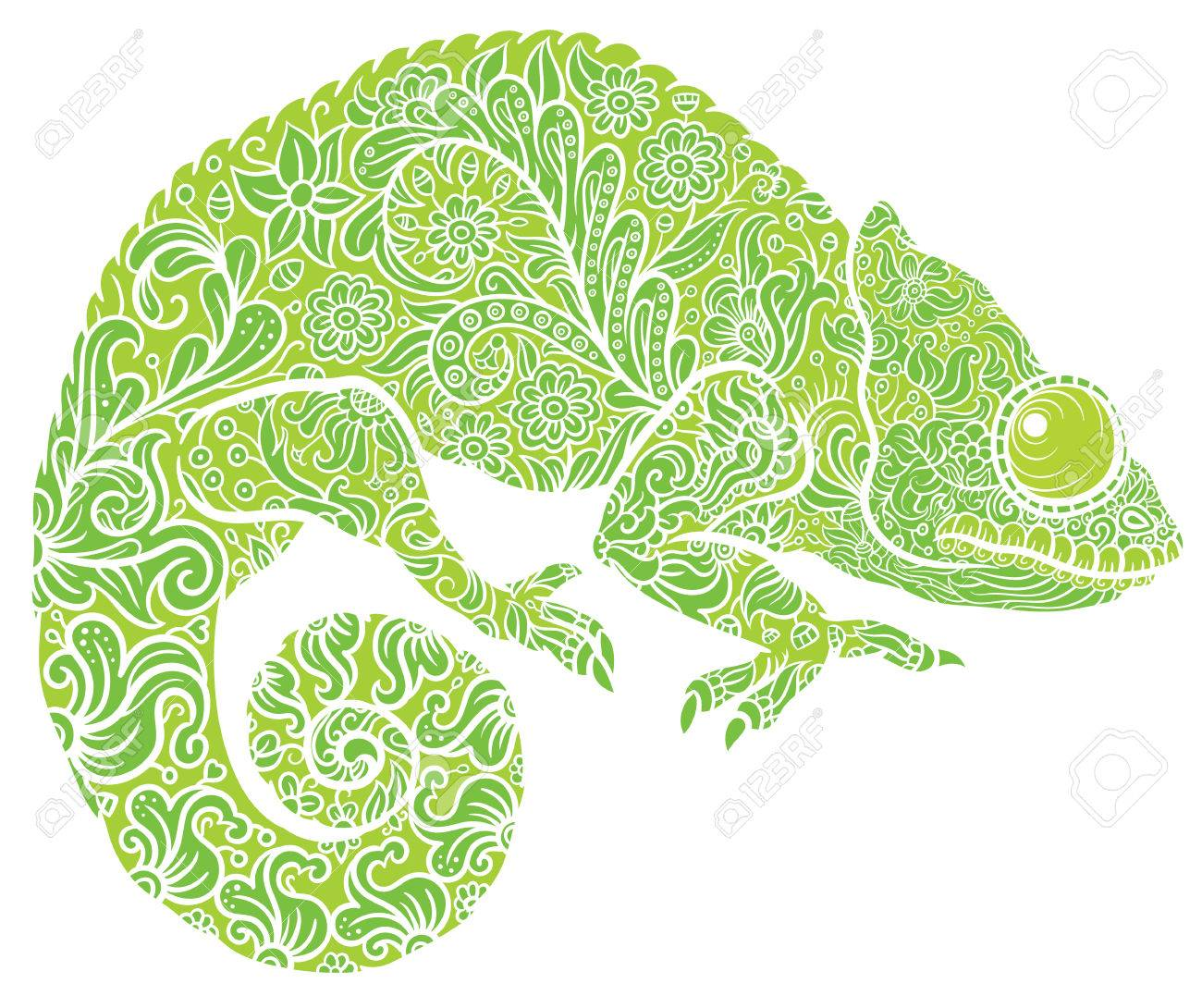 Zentangle stylized multi coloured Chameleon. Hand Drawn Reptile vector illustration in doodle style for tattoo or print - 51201309