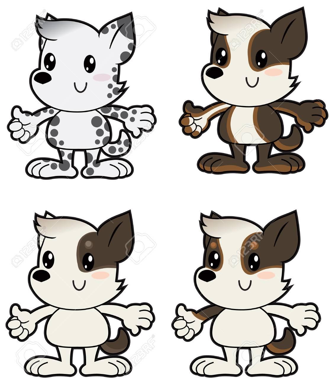 Dibujos Animados Pequeños Perros En Diversos Colores Ilustraciones