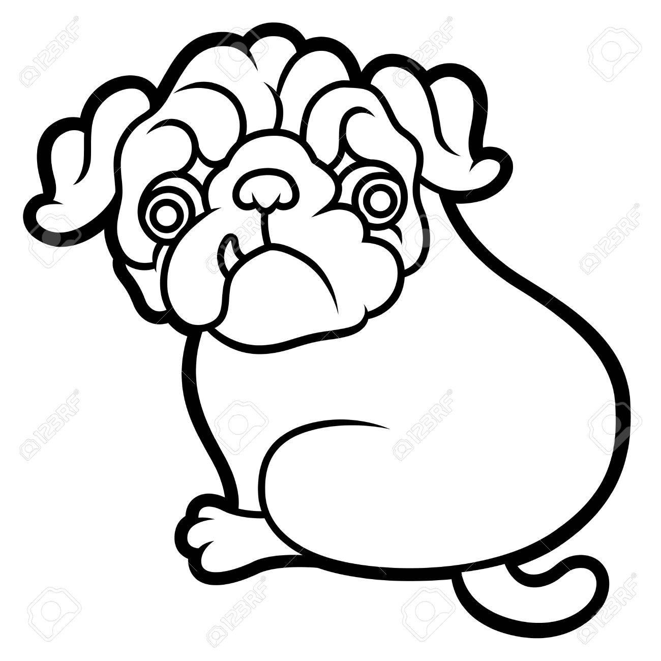 かわいい子犬ベクトル漫画イラスト パグ犬の白い背景で隔離のパグし