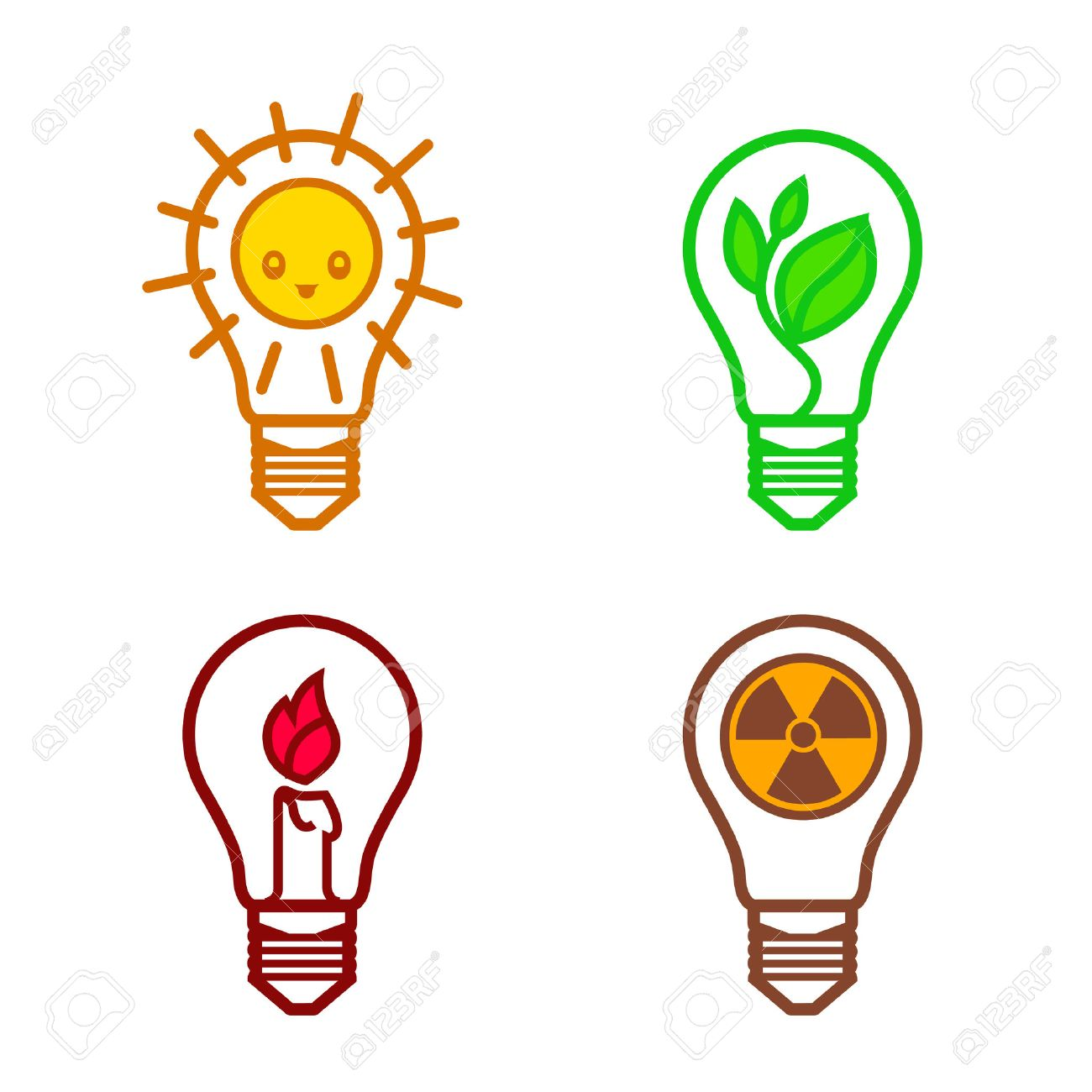 Bulbs symbols of different types of renewable energy nuclear bulbs symbols of different types of renewable energy nuclear non renewable solar suitable as a biocorpaavc Gallery