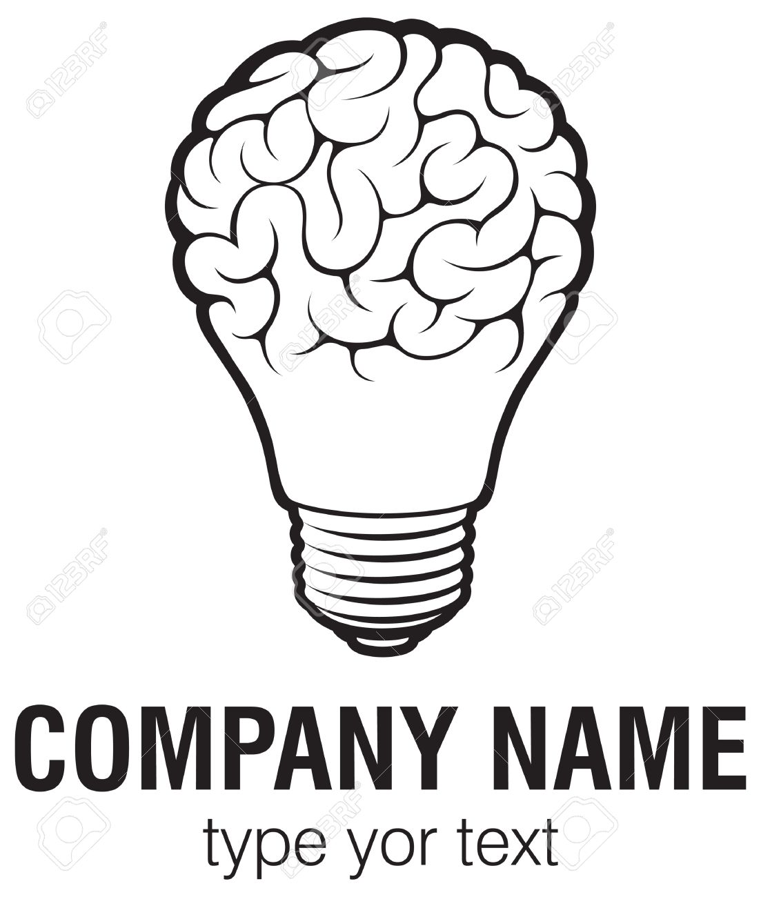 Light bulb idea with brain vector logo template. Corporate icon such as logotype. Creative light bulb idea brain vector. - 51199642
