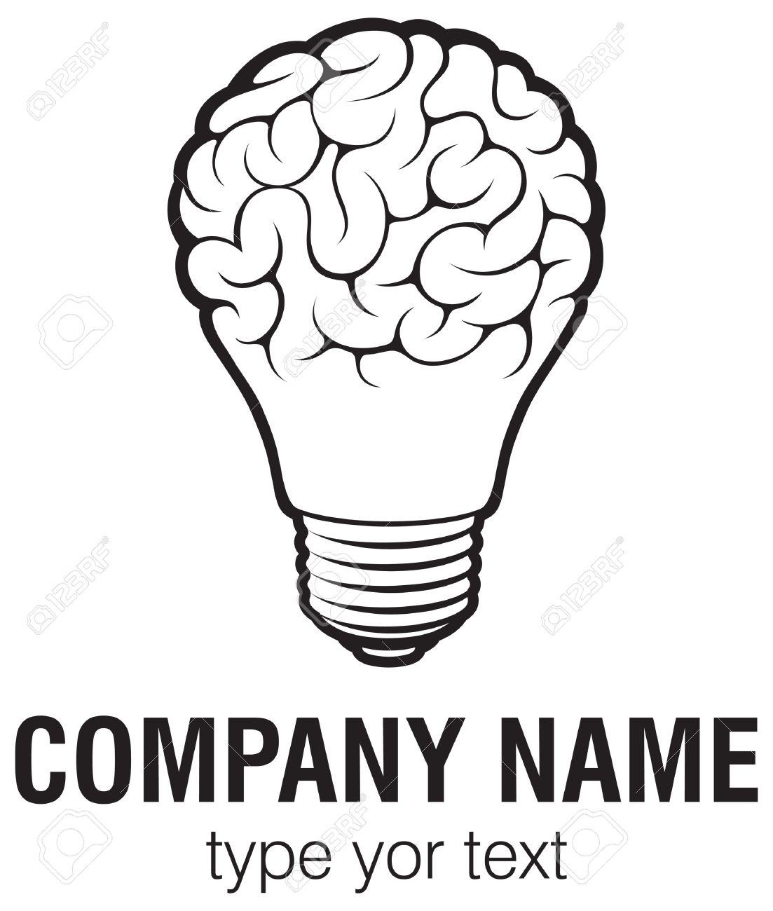 Attractive Light Bulb Idea With Brain Vector Logo Template. Corporate Icon Such As  Logotype. Creative Nice Design