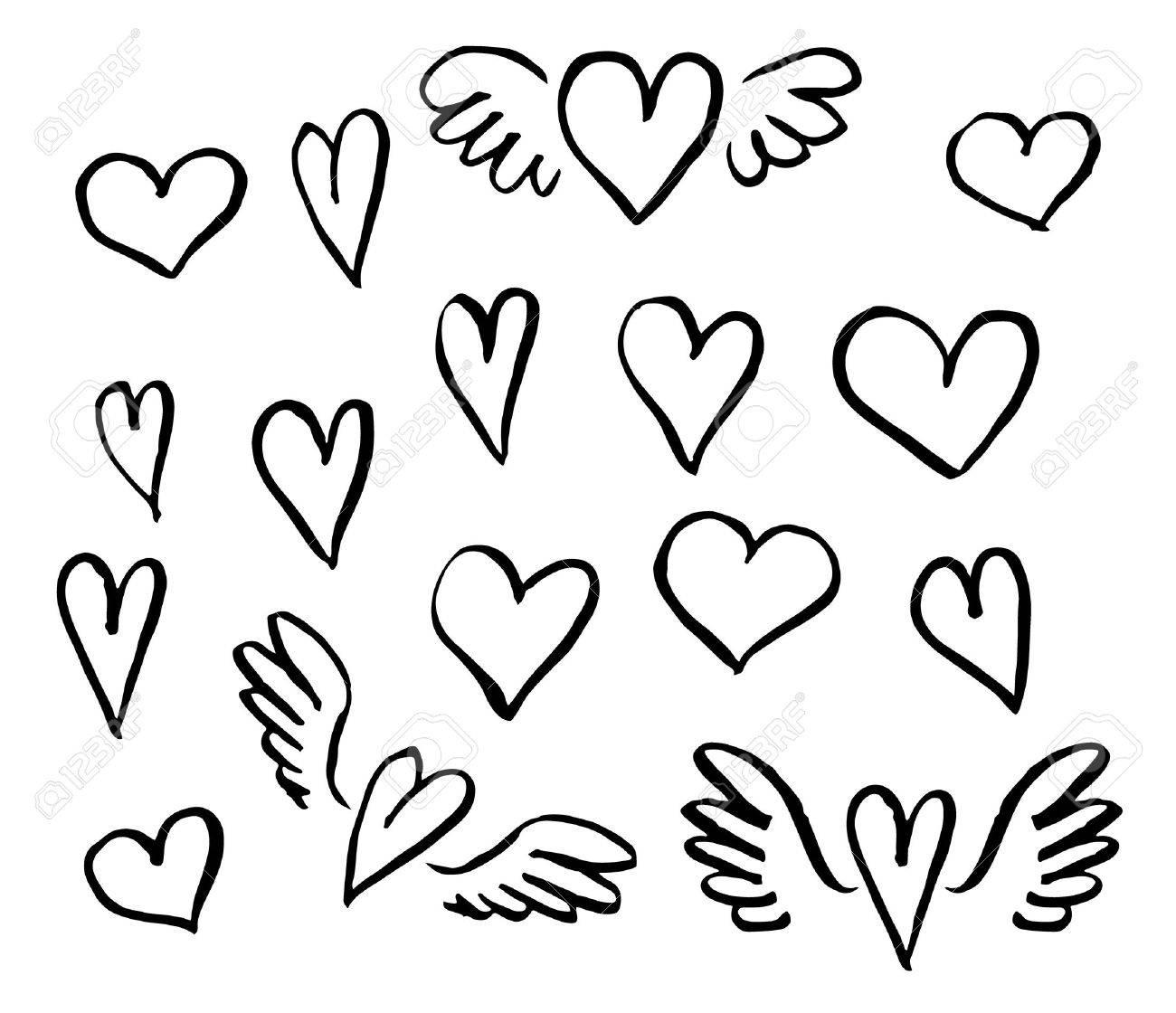 Vector illustration hand drawn hearts set of design elements - 51199390