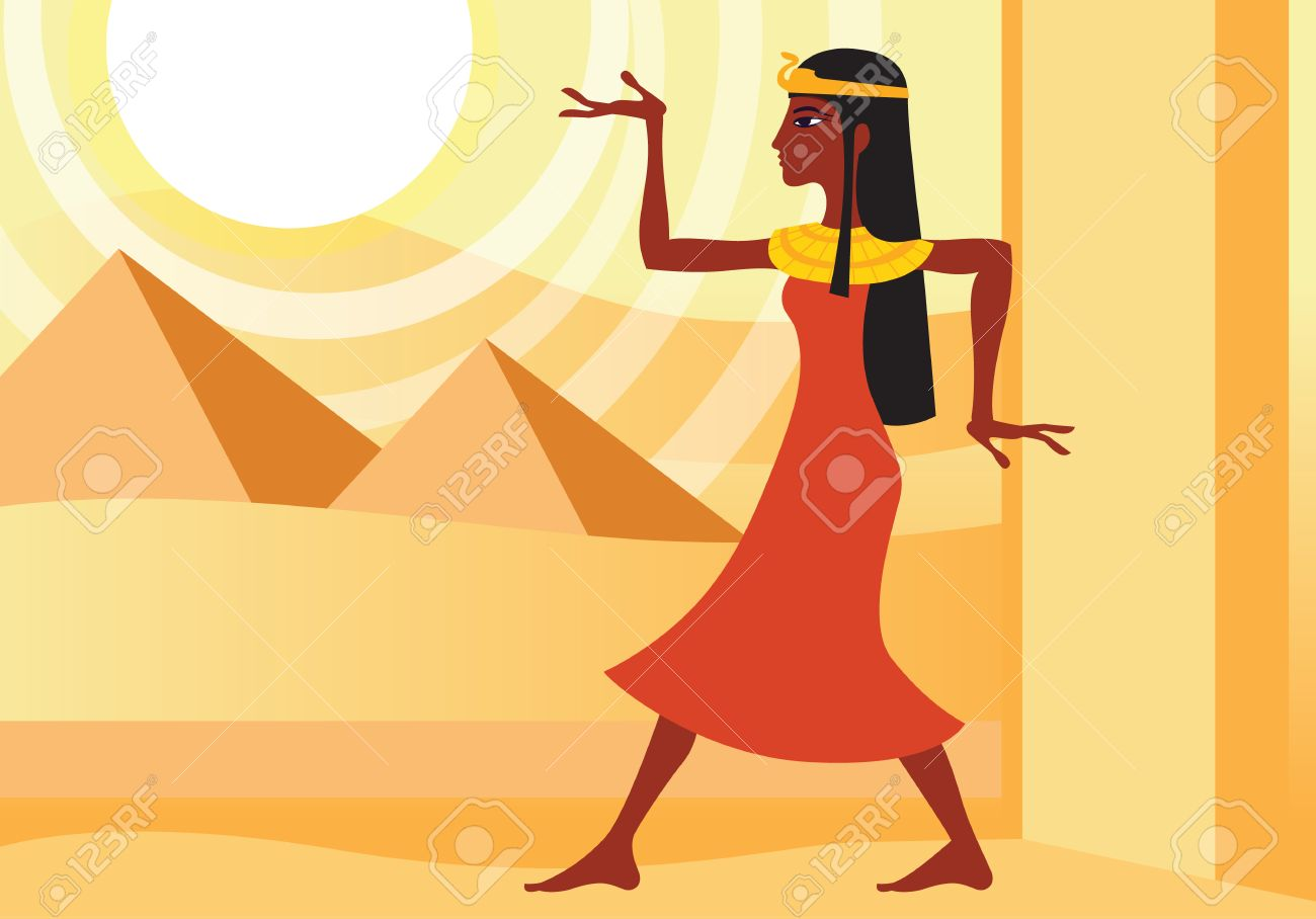 profile view of woman in ancient Egyptian dress in hieroglyphic pose. Pyramids in the desert - 51198679