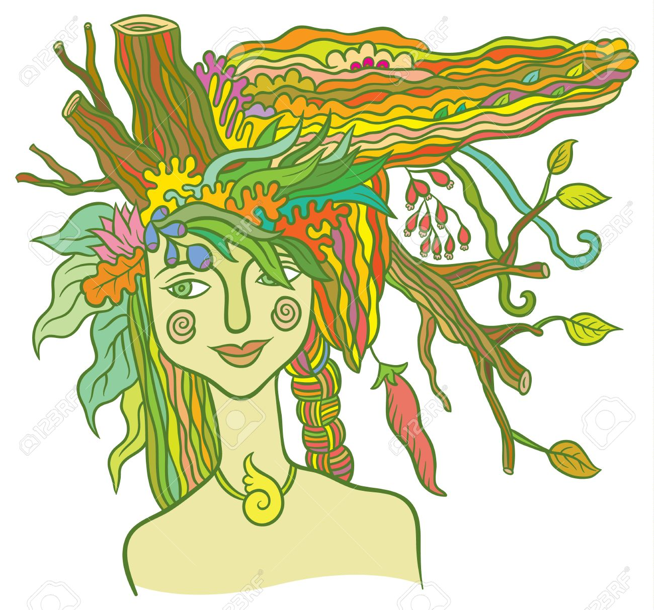 Goddess Mother Nature - symbol of the spirit of nature - hand drawing vector illustration - 51198240