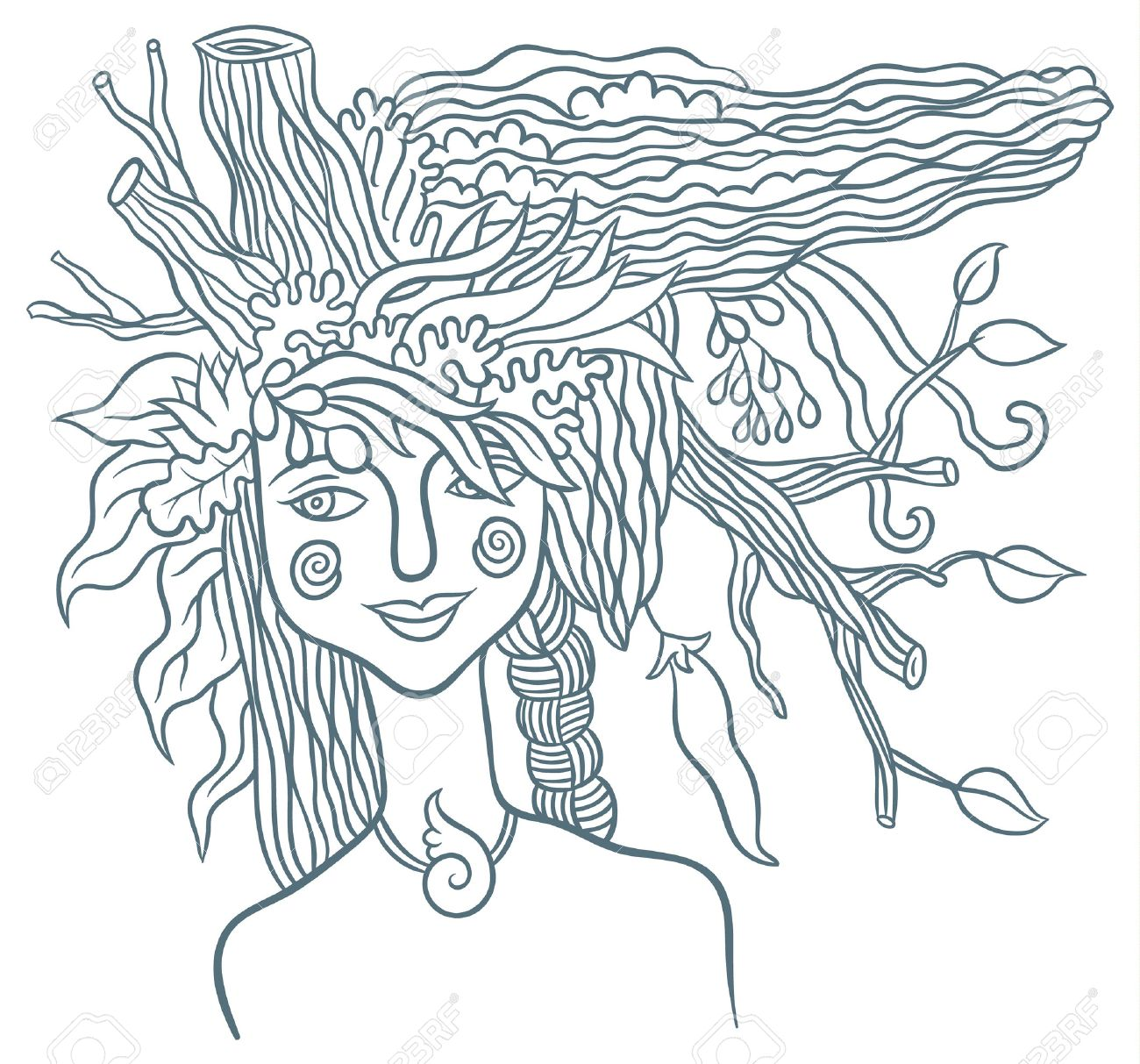 Goddess mother nature symbol of the spirit of nature hand goddess mother nature symbol of the spirit of nature hand drawing vector illustration stock buycottarizona Choice Image