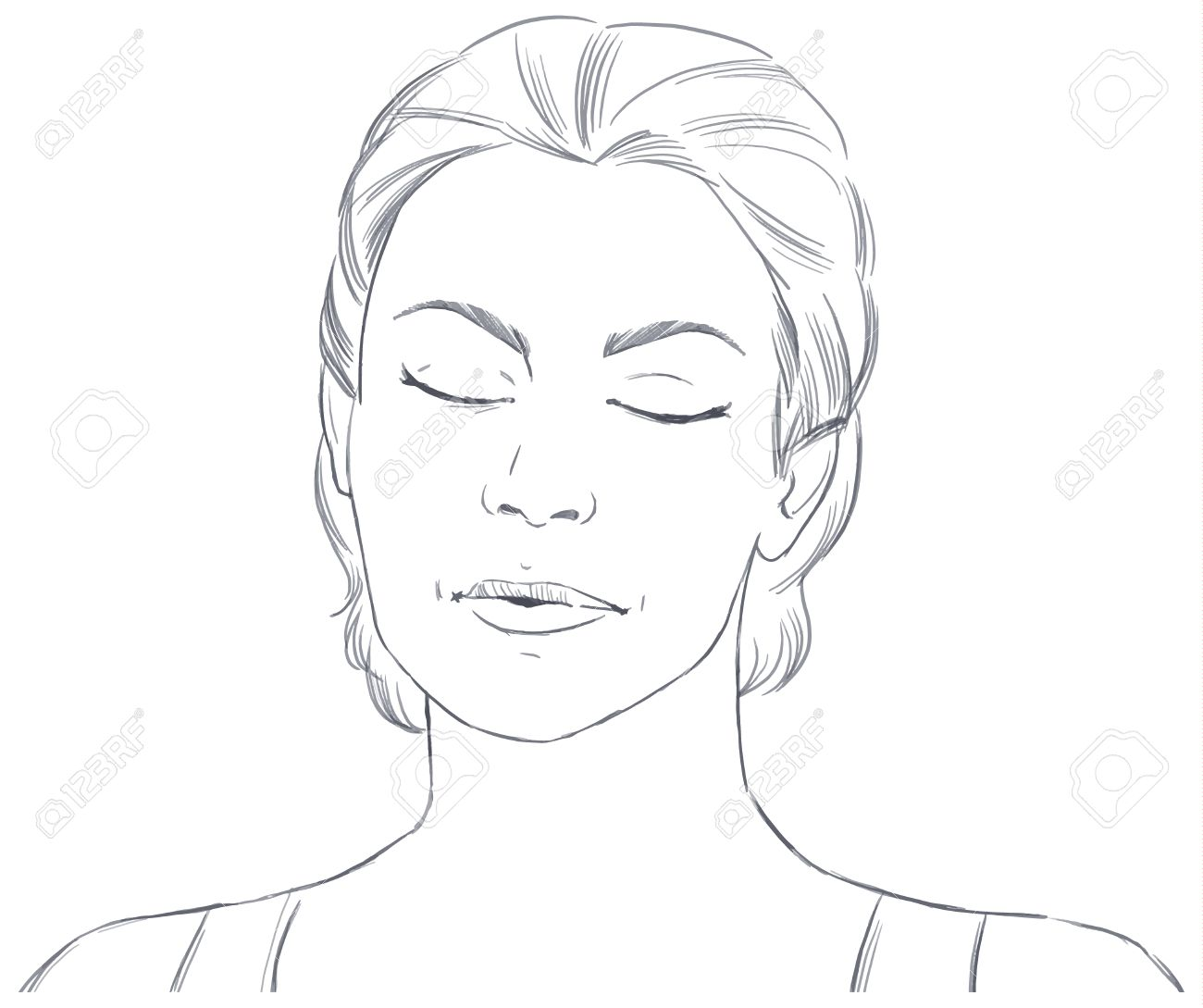 Hand Drawn Face Of Young Woman With Closed Eyes Vector Sketch