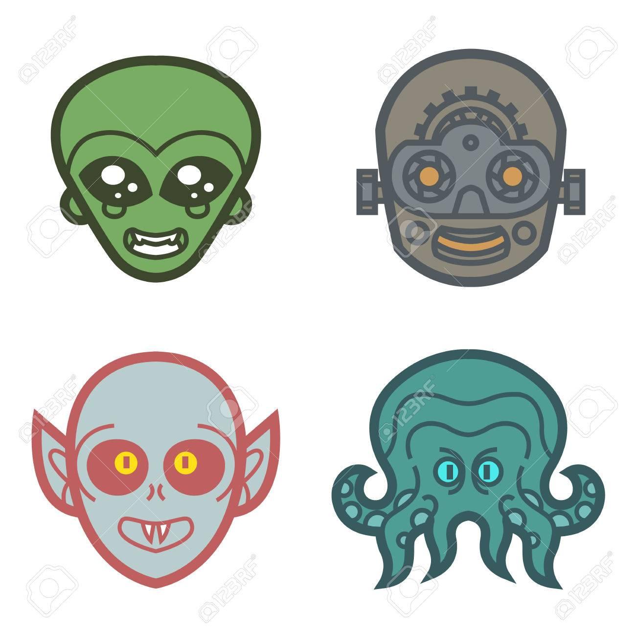 Vampire Ghoul Alien Extraterrestrial Robot Cyborg Monsters Cute ...