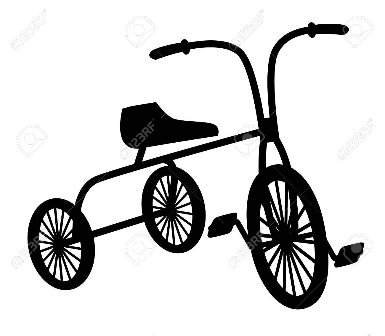 Kids Vintage Bicycle Black Silhouette Royalty Free Cliparts Vectors