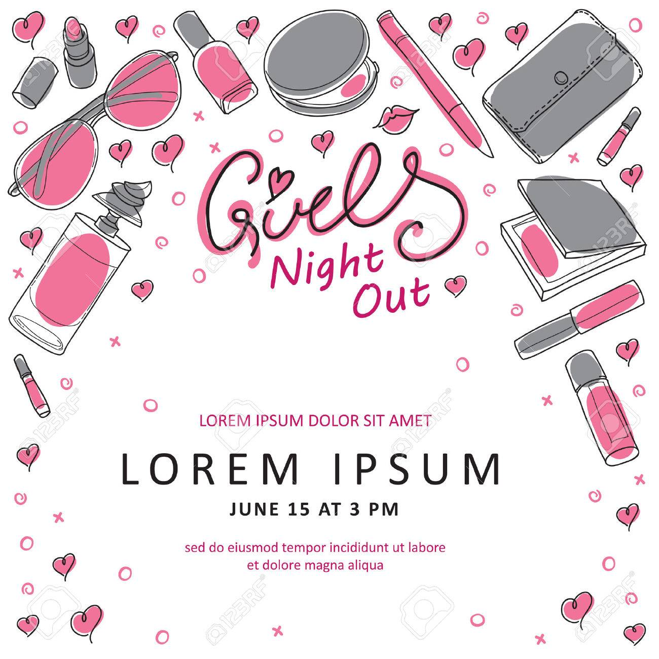 Girls Night Out Party Invitation Card Design in Vector. You can design invitation cards, flyer, thank you card and so on. Girl theme design. - 51384440