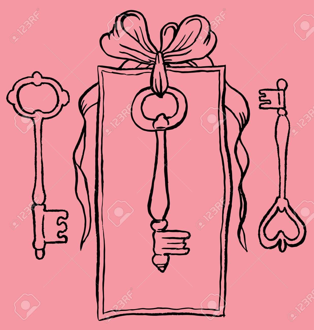 Tag Key Dessin A La Main De Vecteur Clip Art Libres De Droits Vecteurs Et Illustration Image 51389006