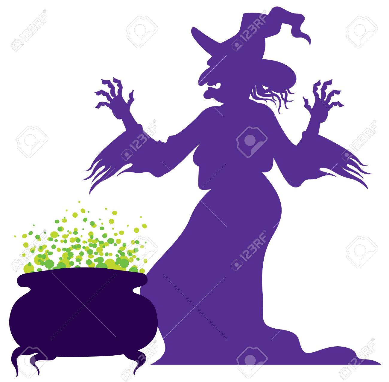 silhouette of the old scary witch with magic cauldron - 51389011