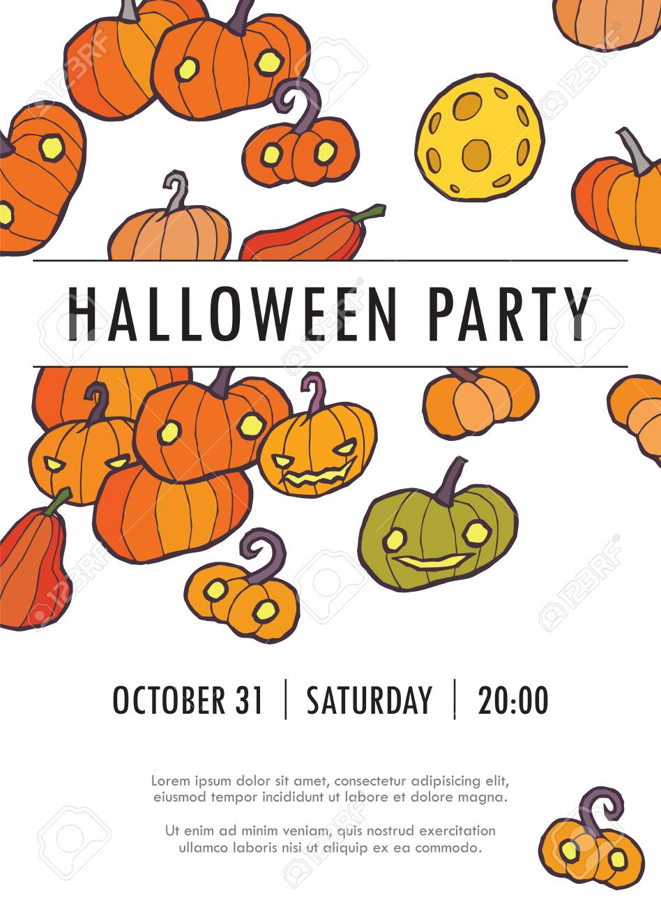 Halloween Vector Invitation Template With Pumpkin You Can Use It For Invitations Flyers